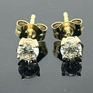 Super Sparkly REAL Diamond and Real 14K Gold Stud Earrings